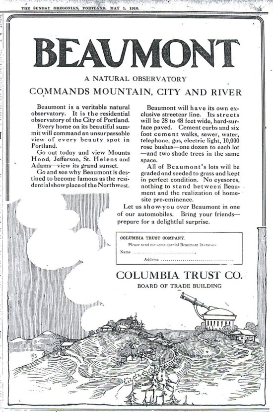 Beaumont Ad, The Oregonian, May 1, 1910