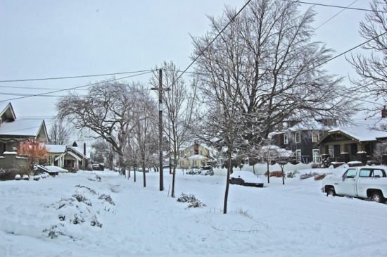 Winter 2008. Looking north on Northeast 30th toward Mason.