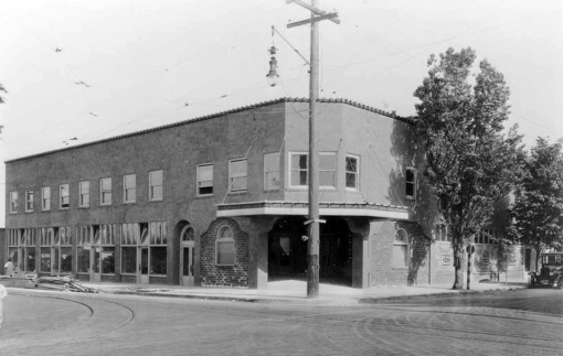 Alameda Theater, NE 30th and Alberta. Photo taken in May 1926. Note construction materials to the left. View looking southeast.