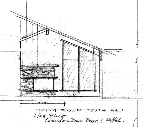 A detail from Birkmeier drawings for a mid-1960s ranch house in Tigard. The interior stone work, high peaked ceilings and glass are signature elements of Birkemeier's later work. Courtesy of Dan Birkemeier.