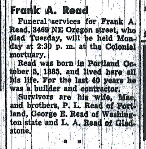 Frank Read Obituary, Oregon Journal, 24 June 1950