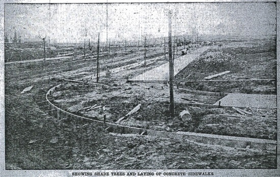 Curbs and sidewalks under construction, from The Oregonian, June 3, 1910.