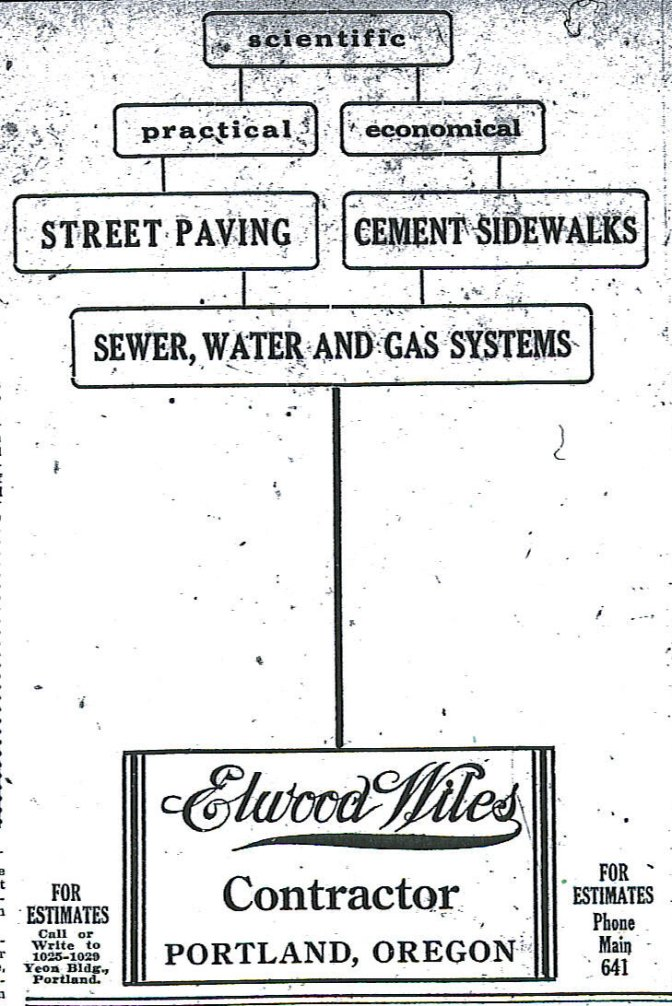 Advertisement, from The Oregon, January 1, 1912