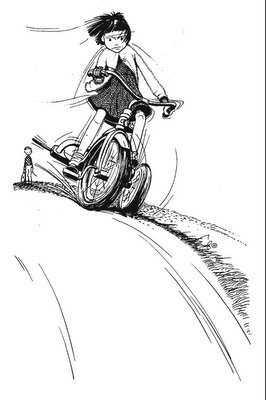 Ramona Rides downhill (is that Regents or maybe NE 37th?) in a drawing by Louis Darling.