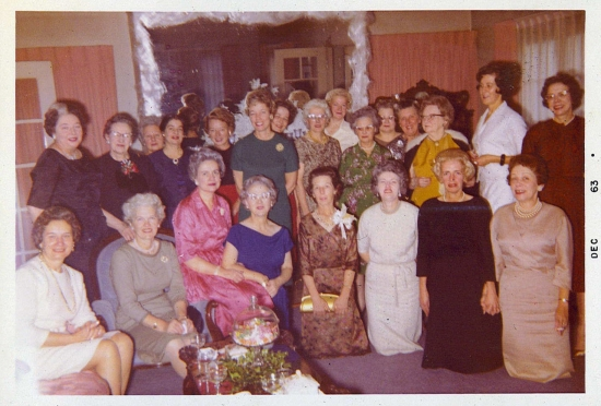 Members of the Alameda Tuesday Club gather in a local home in December 1963. Scrapbooks showing club activities are now in the collection at the Oregon Historical Society. Photo courtesy of the Metschan Family