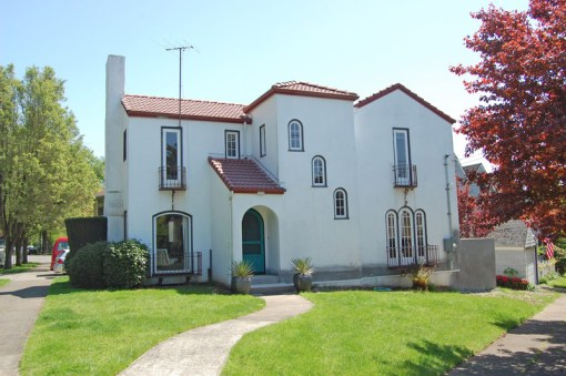 This home at 2506 NE Ridgewood, built in 1925 by Emil G. Peterson, is a classic example of the Mediterranean style in the Alameda neighborhood. Current resident Clayton France is underway with restoration work.