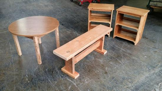 Table, bench and shelves