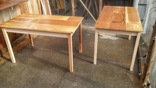 Small dining tables built from salvaged wood